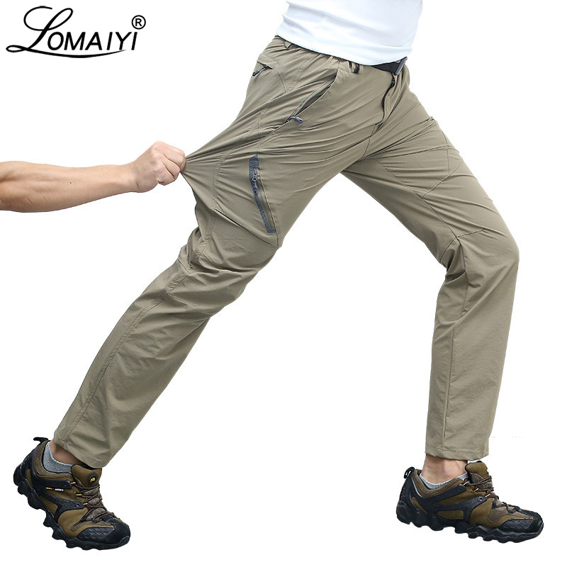 LOMAIYI Stretch Man Pants Men Spring/Summer Reflective Pants Men's Casual Trousers Male Black/Khaki Slim Tactical Pants AM012
