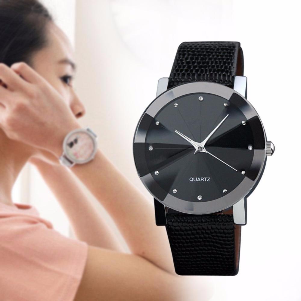 Women Wrist Watch Sport Quartz Fashion Leather Band Automatic Best Gift Black