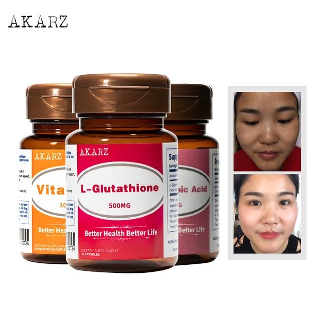 طقم تبييض بتأثير فائق AKARZ L الجلوتاثيون + حمض ألفا ليبويك + فيتامين C طبيعي للبشرة وجه الجسم تقليل الميلانين