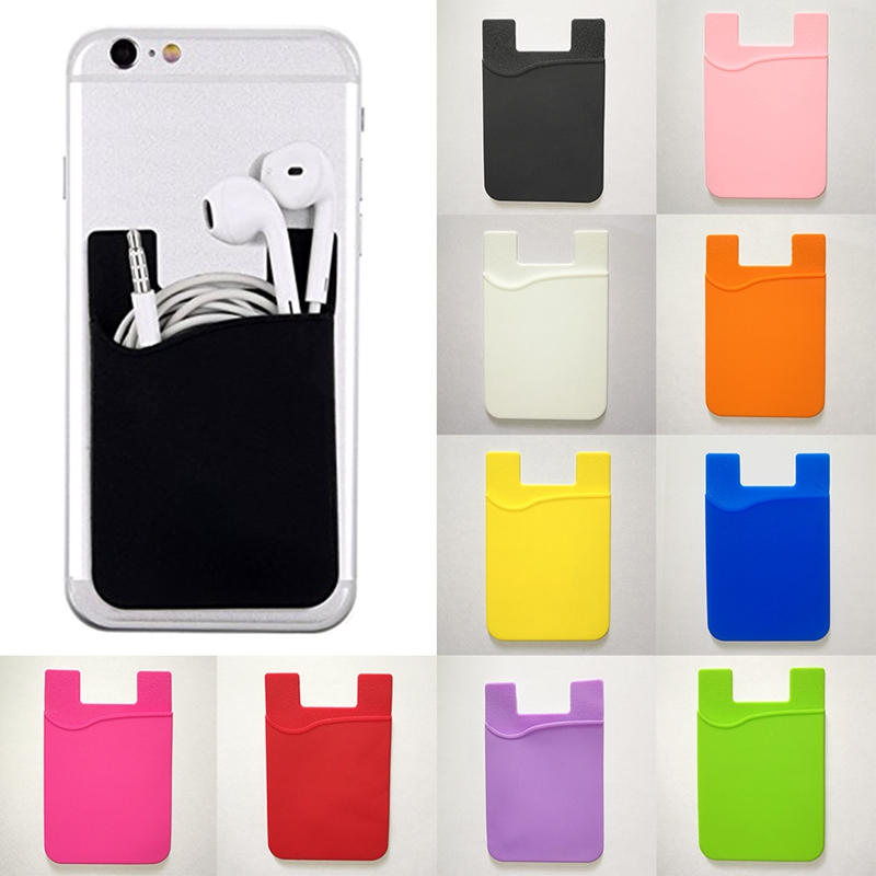 Adhesive Credit Card Pocket Slim Cards Pack Women Men Cell Phone Stick Holder Case Cash Pouch Organizer Sticker Wallets Protect
