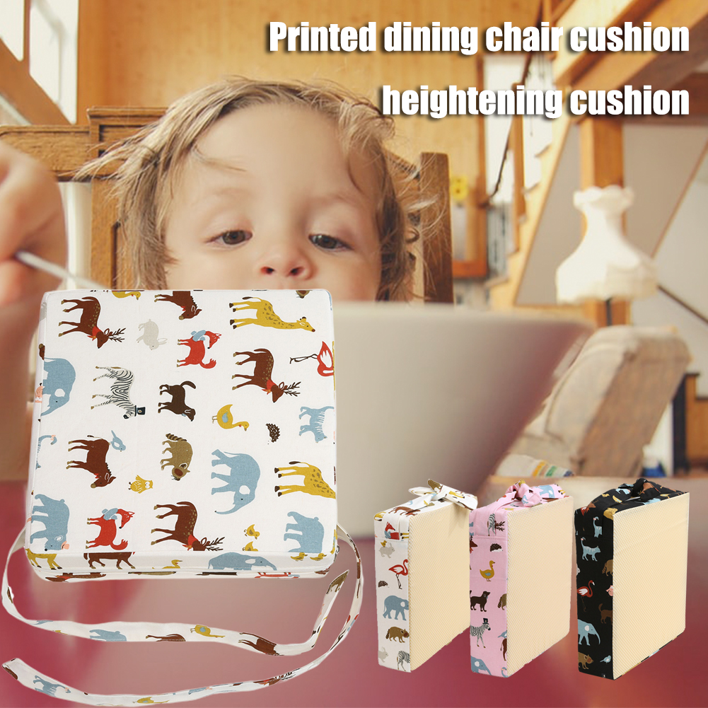 Portable Increasing Highchair Dining Washable Thick Printed Strap Chair Cushion Booster Pad Home Sponge Seat Dismountable