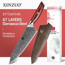 Xinzuo 8.5 polegadas faca do chef japonês vg10 damasco facas de cozinha aço inoxidável corte carne faca de cozinha rosewood lidar com