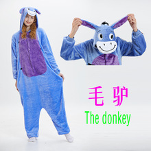 couple pajamapijamasпижамыAutumn/winter flannel donkey cartoon animal pajama costumes performance home pajamas kigurumi