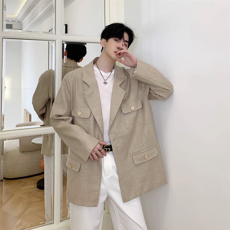 Men Vintage Casual Loose Suit Blazer Jacket Overcoat Spring Autumn Male Bright Silk Champagne Suit Coat Outerwear
