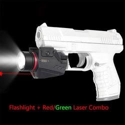 Tactische Led Zaklamp Groene/Rode Laser Zicht Combo Pistol Mini Glock Pistool Licht Jacht Wapen Licht Lanterna Airsoft Licht