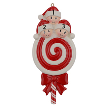 Lollipop Family of 2 Resin Hang Christmas Ornaments With Glossy Baby Face As Craft Souvenir For Personalized Gifts or Home Decor