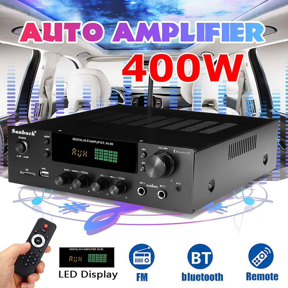 Sunbuck 220V 400W Bluetooth Stereo Amplifier HiFi 2.0 Audio Power Remote Control Headphone Jack USB SD AV-80