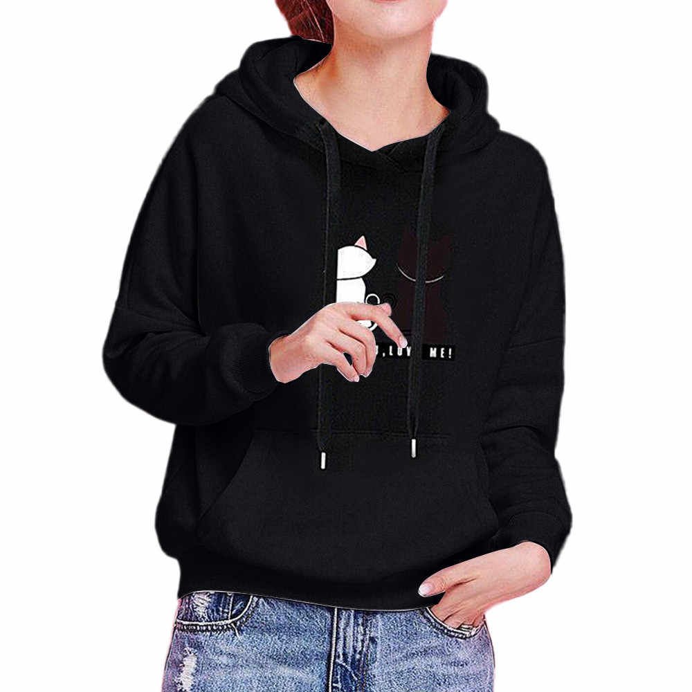 Hoodies Frauen 2019 Winter Herbst Cat Print Damen Sweatshirt Hoodie Weibliche Lange Hülse Tops Mit Kapuze Sweatshirts Sudadera Mujer