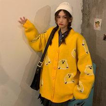 Свободный трикотажный свитер jk для девочек с v образным вырезом