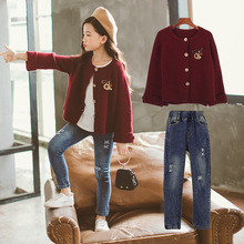 Kids Girls Clothing Sets Spring Girl Clothes Knitwear + Jeans Two-Piece Autumn Children Clothe Suits Outfits 8 10 12 Years