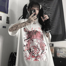 Girl Clothes Tops Gothic Clothes Loose Harajuku T Shirts Femme Summer 2021 Print Anime Shirt Clothes Streetwear Woman In Robe
