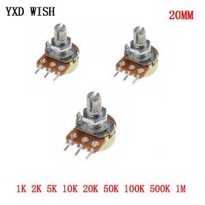 10pcs Potentiometer Switch 1K 2K 5K 10K 20K 50K 100K 500K 1M Ohm WH148 Linear Potentiometer 20mm 3Pin Diy Potentiometer Switches
