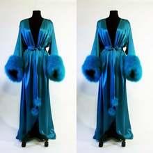 Женский Атласный халат кимоно длинное платье знаменитости свадебная