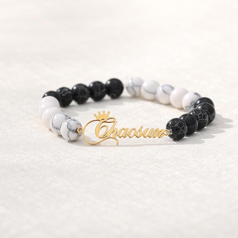 Natural Black Custom Name Lava & White Stone Beads Custom Name Bracelet  Mens Jewelry Buddha Dragon Bead Bracelet For Women