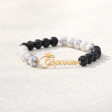 Natural Black Custom Name Lava & White Stone Beads Custom Name Bracelet  Mens Jewelry Buddha Dragon Bead Bracelet For Women