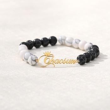 Natural Black Custom Name Lava & White Stone Beads Custom Name Bracelet  Mens Jewelry Buddha Dragon Bead Bracelet For Women natural black custom name lava