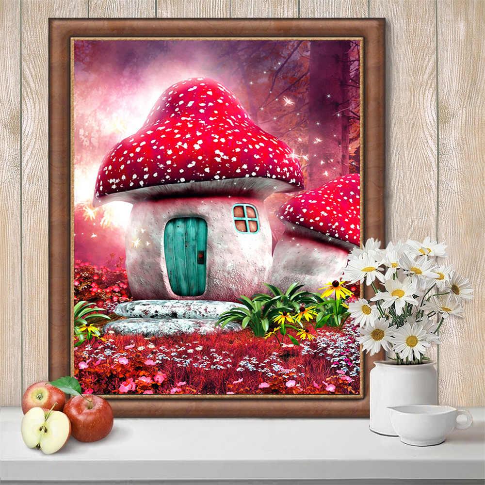 HUACAN 5D FAI DA TE Diamante Pittura Fungo 3D Pieno Trapano Piazza di Ricamo A Punto Croce Paesaggio Mosaico Della Decorazione Della Casa