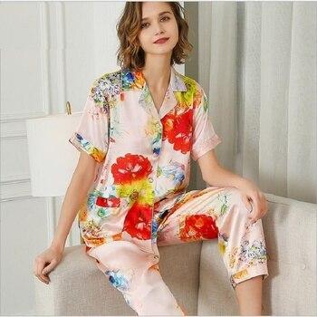 100% SilK Stain Pajamas Sets Women Floral Print Short Sleeve  Summer Silk  Homewear Sleepwears Sets 2020 Home Pyjama Sets