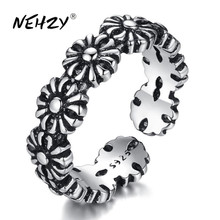 Adjustable Ring New Jewelry Flower-Size 925-Sterling-Silver Black Simple NEHZY Retro
