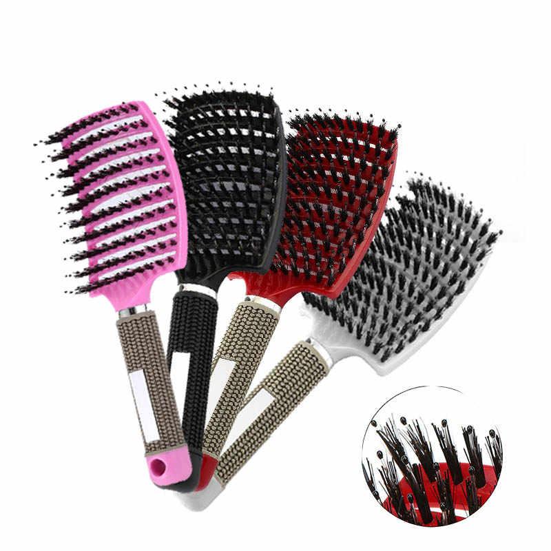 Bàn Chải Tóc Tóc Massage Da Đầu Lược Chải Lông Xoăn Tóc Dài Chải Cho Salon Làm Tóc Dụng Cụ Tạo Kiểu Tóc