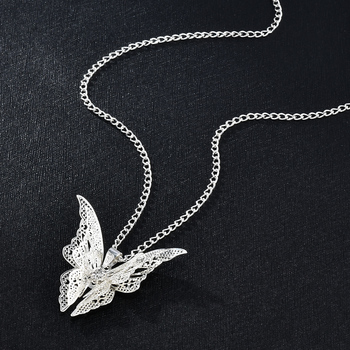 2020 High Quanlity Women Lady Elegant Openwork Butterfly Pendant Long Chain Necklace Sweater Accessories Necklace Jewelry 1
