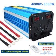 Czysta fala sinusoidalna 4000W/8000W DC 12V/24V do AC 110V 60Hz LED napięcie cyfrowy wyświetlacz US gniazdo 4KW falownik solarny
