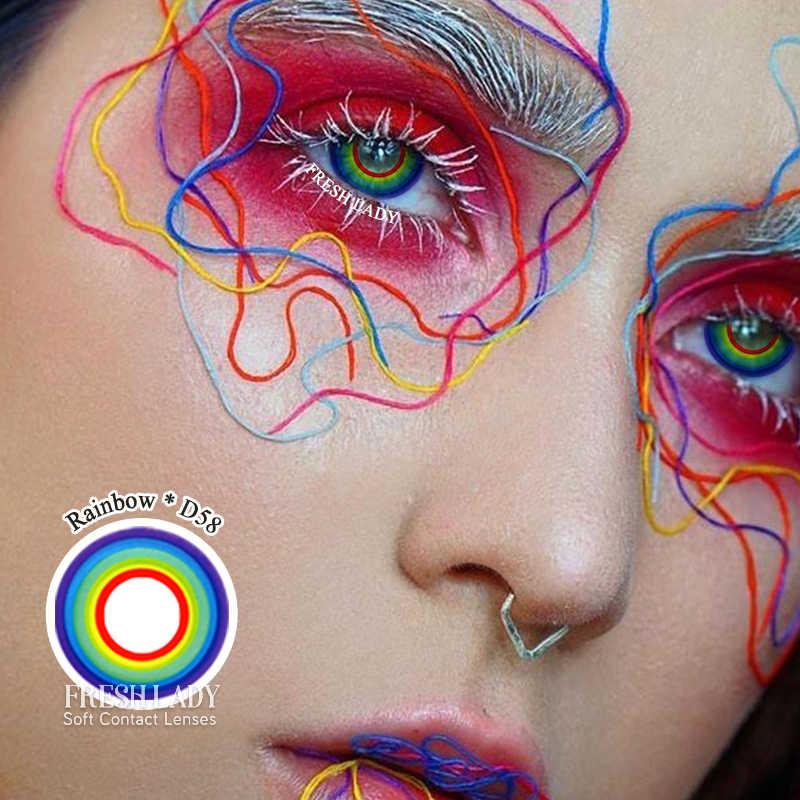 Fresh Lady 2 sztuk/para Cosplay kolorowe soczewki kontaktowe tęczowa seria soczewki kontaktowe kolorowe 14.5mm Cosplay kosmetyczne soczewki kontaktowe