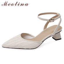 Meotina Ankle Strap Shoes Women Mid Heel Dress Sandals Pointed Toe Square Heels Buckle Strap Female Sandals Summer Beige Size 40 women sandals elegant style 2018 new square heel solid color medium heel black beige gray female summer sandals plus size 34 40