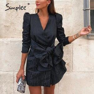Image 1 - Simplee Sreetwear V hals Blazer Jurk Elegante Bladerdeeg Mouw Boog Korte Party Dress Office Dames Chic Solid Black Herfst Werk Jurk