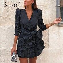 Simplee Sreetwear v ausschnitt blazer kleid Elegante puff hülse bogen kurze party kleid Büro damen chic solid black herbst arbeit kleid