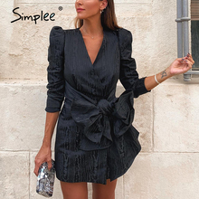 Simplee Sreetwear v neck blazer dress Elegant puff sleeve bow short party dress Office ladies chic solid black autumn work dress