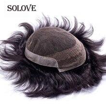 Мужской парик французский кружевной с ПУ Remy индийские волосы замена системы человеческие французские кружева супер парики ручной работы