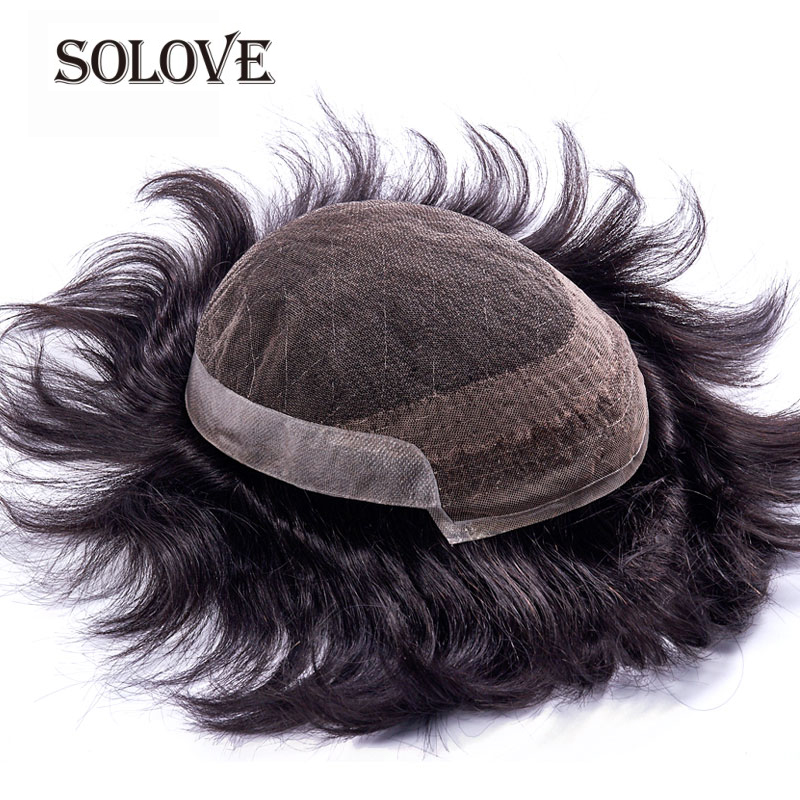 Mens Toupee FRENCH LACE With PU Remy Indian Hair Replacement System Human French Lace Super Hairpieces Wig Handmade