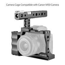 Andoer Fotografia Camera Cage + Maniglia Superiore In Lega di Alluminio Kit con Fredda Shoe Mount Compatibile con Canon EOS M50 DSLR macchina fotografica