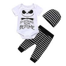 Baby Clothes Casual Fashion Baby Boy Girl Letter Printing Romper Striped Pant Trousers with Hat 3PCS Kids Outfit Set #p недорого