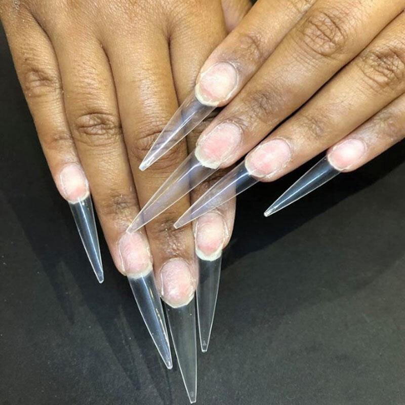 Extra Long Point Stiletto False Nail Tips Acrylic Gel Salon Half Cover Tip Nails