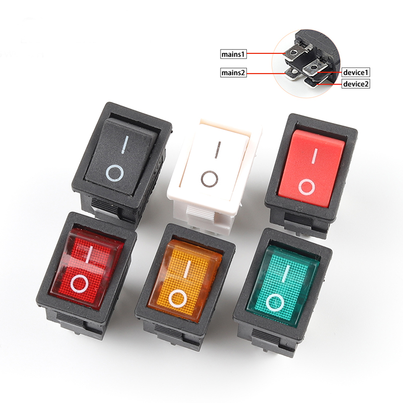 5pcs/lot 4 Pin 21*15mm ON-OFF KCD1 Boat Car Rocker Switch 6A/250V AC 10A/125V AC Electrical equipment With Light