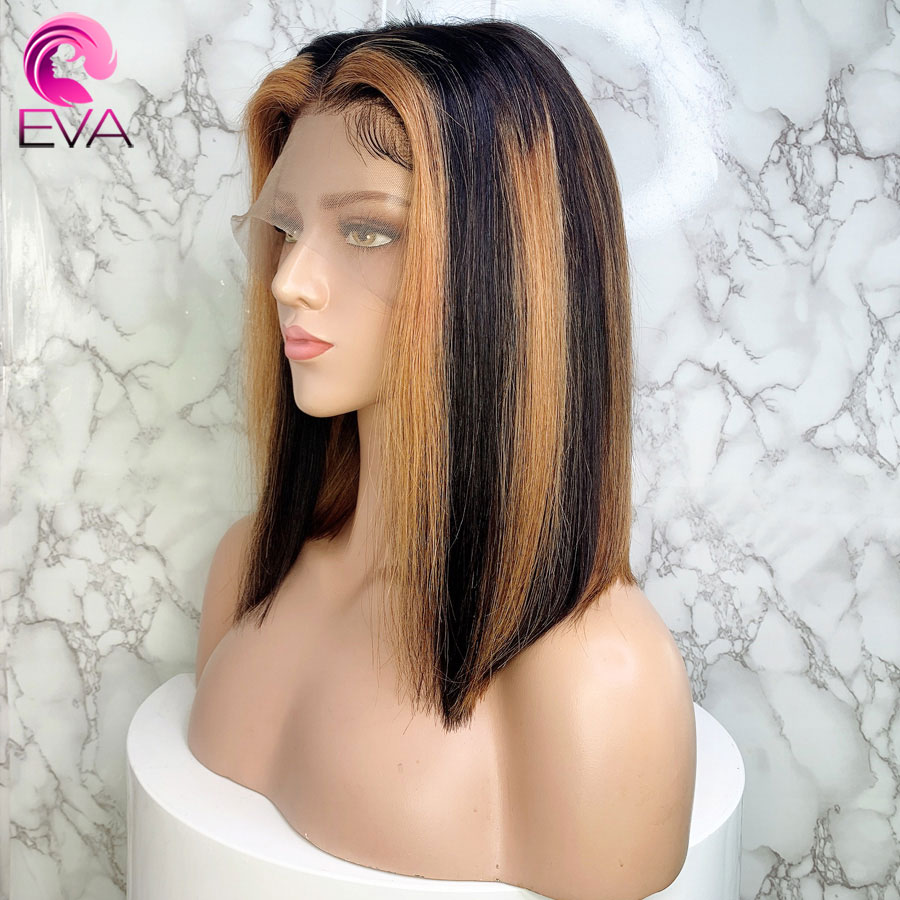 Eva Hair Ombre Highlights 13x6 Lace Front Human Hair Wigs Pre Plucked With Baby Hair Brazilian Remy Short Bob Straight Hair Wigs