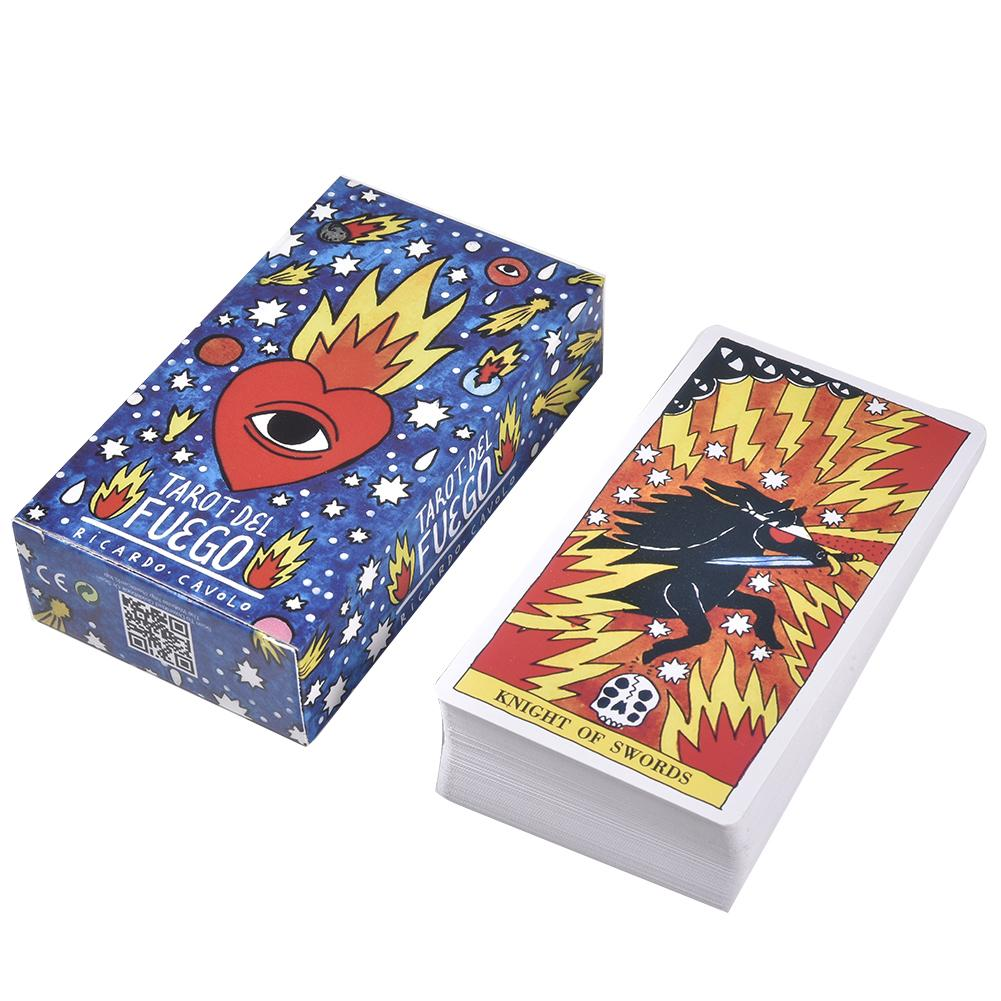 New 78Pcs Tarot Del Fuego Tarot Cards English Deck Board Cards Funny Family Board Game Playing Game Cards Party Games