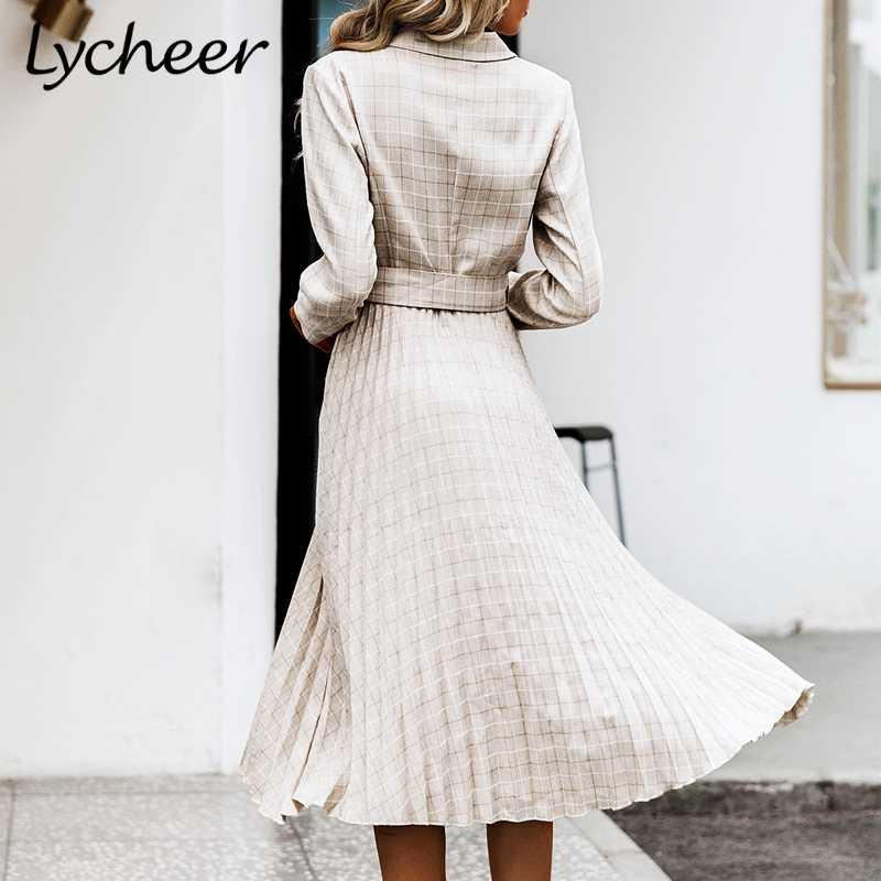 Lycheer трапециевидный блейзер с v-образным вырезом женское платье элегантное, миди длинный рукав кнопка пояс Женский блейзер платье Плиссированное офисное женское платье