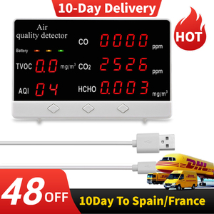 Multifunctional Digital Display High Accuracy CO CO2 HCHO TVOC Detector Air Quality Analyzer Monitor CO2 Meter Gas Analyzer