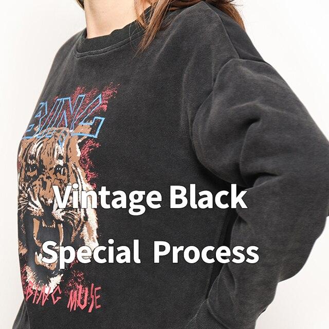 Black Tiger Head Graphic Boho Sweatshirt Women Autumn Winter Long Sleeve O Neck 100% Cotton Pullover Casual Vintage Hoodies 2020 4