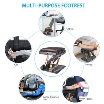 4-Level Height Adjustable Footrest With Removable Soft Foot Rest Pad Max-load 120lbs With Massaging Beads For Car Under Desk
