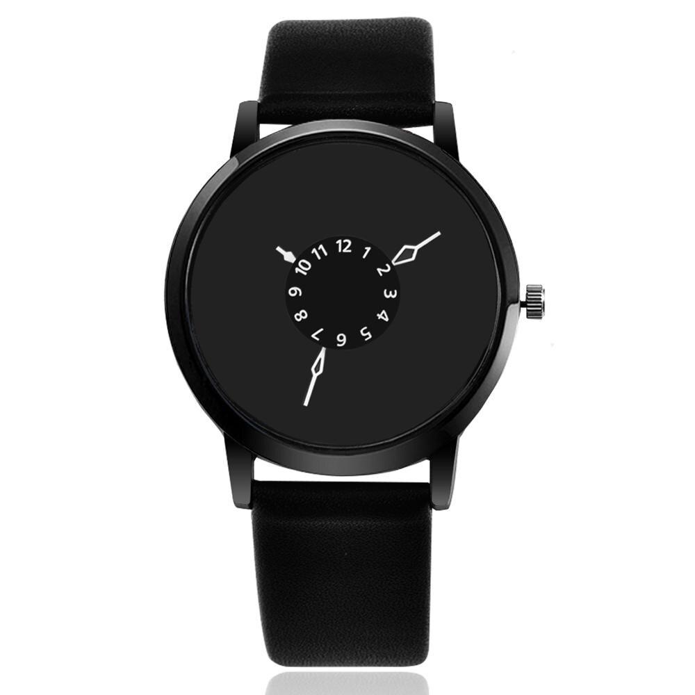 New creative watches women men quartz-watch analog unique dial design lovers' relogio saati leather wristwatches clock relojes