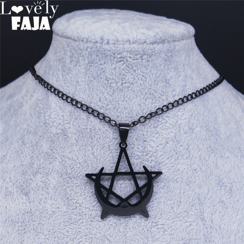 Lovely FAJA Gothic Moon and Pentagram Stainless Steel Neckless for Women Black Witchcraft Necklaces & Pendants Jewelry N4136S03(China)