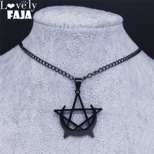 Lovely FAJA Gothic Moon and Pentagram Stainless Steel Neckless for Women Black Witchcraft Necklaces amp Pendants Jewelry N4136S03 cheap Pendant Necklaces TRENDY Popcorn Chain Metal All Compatible Party Period Tracker AS SHOW Necklaces Pendants Jewelry Witchcraft Necklaces Pendants Jewelry