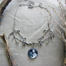 Vintage gótico bruxa lua cheia colar feminino jóias cabochons lunar fluorescente luz pingente de brilho no escuro