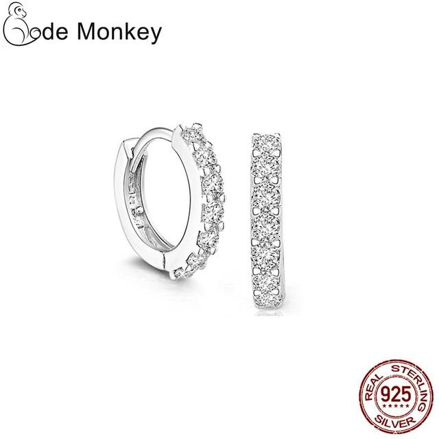925 Sterling Silver Crystal Circle Earrings 5