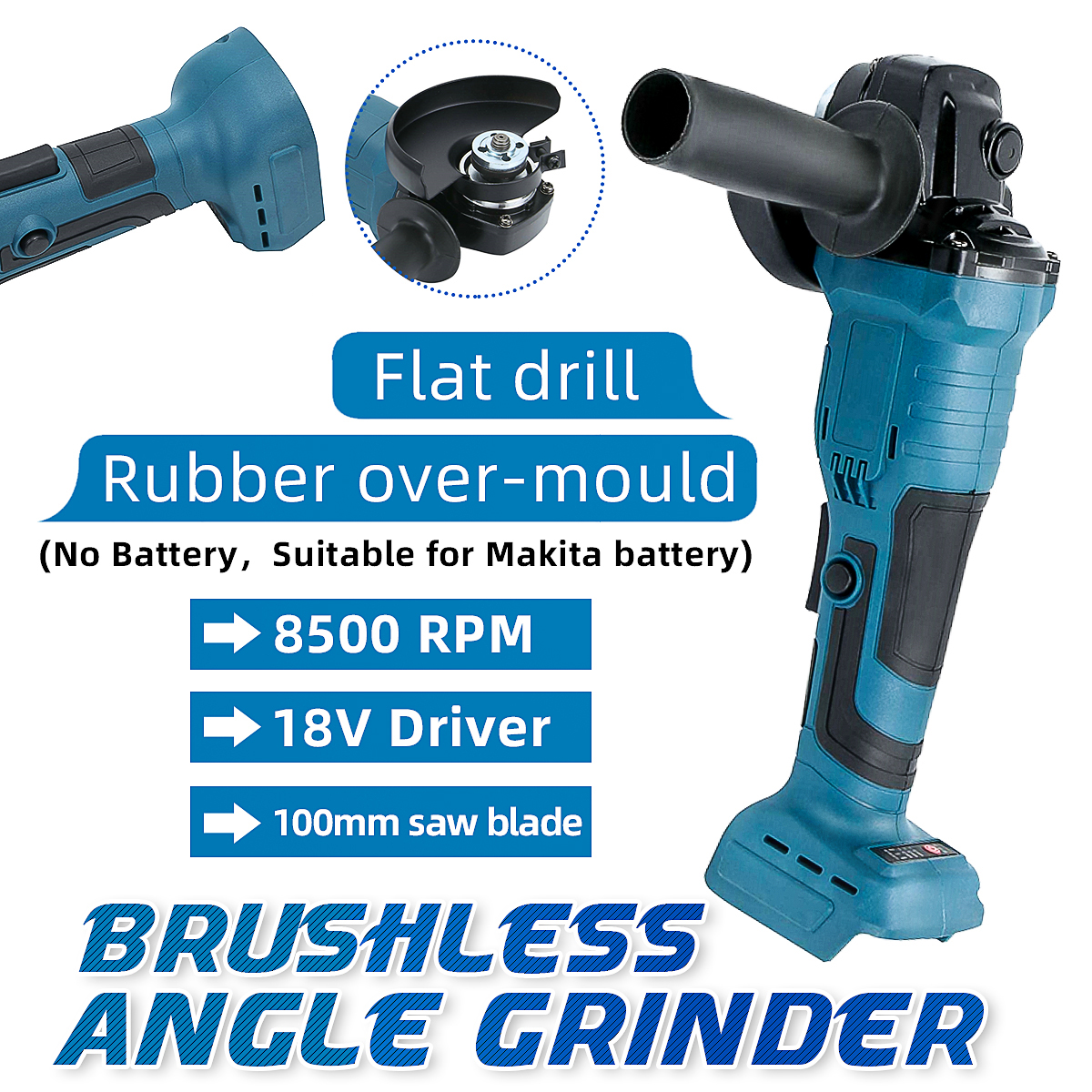 18V 100mm Brushless Impact Angle Grinder Polishing Cordless Cutting Machine Sanding Tool without Battery For Makita BL1840 50 60