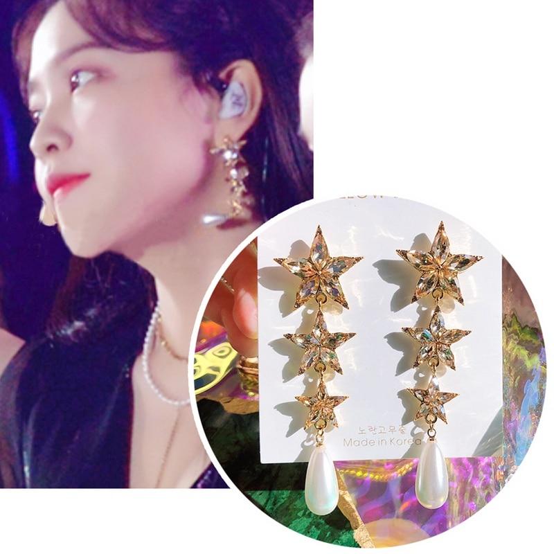 MENGJIQIAO Korean TV Crystal Star Drop Earrings For Women Luxury Fashion Elegant Pearl Oorbellen Party Jewelry Accessories